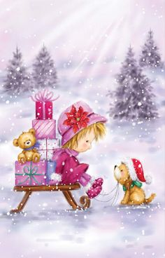 Christmas Scenes, Christmas Projects, Beautiful Christmas, All Things Christmas, Kids Christmas, Vintage Christmas, Xmas, Illustration Noel, Christmas Illustration