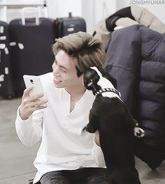 Jonghyun ❤ #gif Puppy-Jjong and a puppy <3