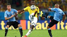 Colombia's Jackson Martinez controls the ball at the Maracana.
