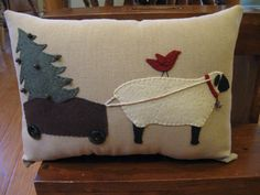 Sheep Carting Christmas Tree Applique Pillow by Justplainfolk, pillows, maybe Christmas Sewing, Noel Christmas, Christmas Pillow, Christmas Crafts, Christmas Cushions, Applique Cushions, Wool Applique Patterns, Sheep Crafts, Felt Crafts