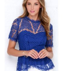 Adelyn Rae Blue Lace Top BRAND NEW WITH TAGS! Fitted waist. Great for any cup size. Adelyn Rae Tops Blouses