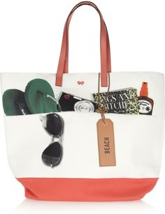 Anya Hindmarch Beach Bag Canvas Tote in Pink (cream) | Lyst