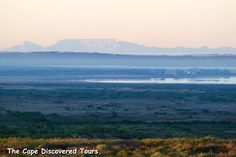 Iconic Table Mountain seen from the West Coast NP, some odd 100 km away and Geelbek restaurant in the foreground.