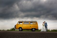 Wedding, retro car, yellow, bride and groom, T2 camper, vintage, clouds, sky, grey, Dutch, Holland