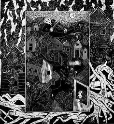 Lino cut by Barbara Milman