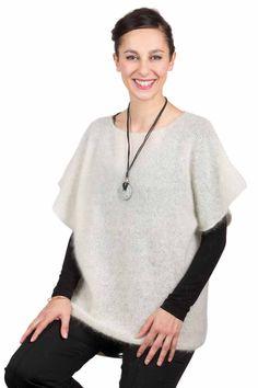 Pull en laine mohair manches courtes