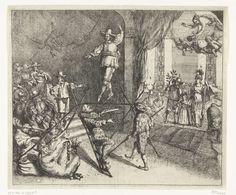 anoniem   Cromwell als koorddanser, 1652, attributed to Dirk Stoop, 1652   Spotprent op Oliver Cromwell en Engeland ten tijde van de Eerste Engelse Oorlog. Cromwell als een koorddanser op een koord opgehouden door Fairfax en een hoveling. Links kijken de Engelsen toe. Hieronder bevinden zich een duivel, enkele muzikanten en Meester Pieter Cornel (waarschijnlijk de predikant Hugh Peters). Op de achtergrond slingeren twee apen. Rechts de jonge prins Willem III staande tussen een Hollander met…