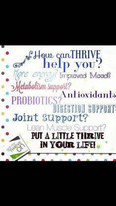 I feel better than I have in years! Thrive is hard to explain. Most people think it's too good to be true. You have to experience it yourself to understand! Message me for your new customer discount!  lyndssmith.le-vel.com