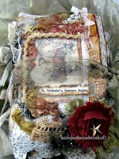 "Several months ago I was approached by a customer to create a ""Christmas Lace Book/Journal using rusted items, Arthur Rackham images . Book Journal, Journal Cards, Journal Covers, Journal Ideas, Journal Prompts, Book Covers, Bullet Journal, Handmade Journals, Handmade Books"