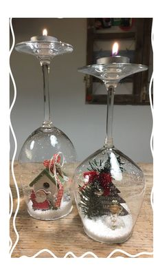 125 magical christmas centerpieces that will make you feel the joy of the holidays 131 Christmas Globes, Christmas Candles, Christmas Centerpieces, Christmas Items, Christmas Wreaths, Christmas Decorations, Tree Decorations, Christmas Wine Glasses, Wine Glass Crafts