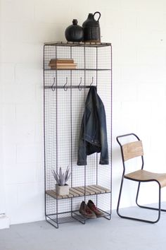 Kalalou Wire And Wood Double Locker. This convenient double locker is made from raw metal and features two slatted wood shelves. Iron Furniture, Home Office Furniture, Locker Furniture, Kitchen Furniture, Furniture Removal, Furniture Design, Wood Lockers, Contemporary Shelving, Wood Shelves