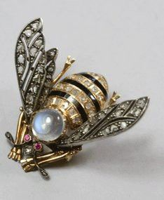 Antique Moonstone Diamond Bee Pin!  Call A1 Bee Specialists in Bloomfield Hills, MI today at (248) 467-4849 to schedule an appointment if you've got a stinging insect problem around your house or place of business!  Visit www.a1beespecialists.com for more information!