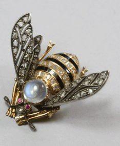 Antique Moonstone Diamond Bee Pin