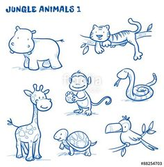 Vektor: Cute cartoon jungle, safari animals. hippo, tiger, giraffe, monkey, snake, tortoise, bird, tucan. Hand drawn doodle vector illustration.