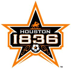 Houston Dynamo Unused Logo (2006) - Sam Houston statue on 1836 and a soccer ball in a black-and-orange star