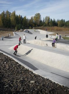 Hyttgardsparken skateboard park in Falun, Sweden by 42architects. Click image for description and images, & visit the slowottawa.ca boards >> https://www.pinterest.com/slowottawa/