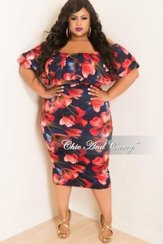 5ea9bc4623927 Final Sale Plus Size Off the Shoulder Ruffle BodyCon Dress in Navy and Red  Floral Print