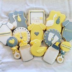 Gender Neutral Baby Shower Cookies - Grey and Yellow Baby Shower - Sugar Coated by Kristin