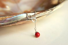 Infinity necklace with red colored mallorca pearl by HirasuGaleri, $16.00 #jewelry #necklace #wedding #bridesmaid #weddingnecklace #rhodiumplated #pinkquartz #feather #pearl #mothersday #infinity red #majorkapearl #weddingjewelry