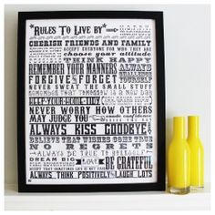 """""""Rules To Live By"""" Print #Wedding Gifts http://www.giftgenies.com/presents/rules-to-live-by"""