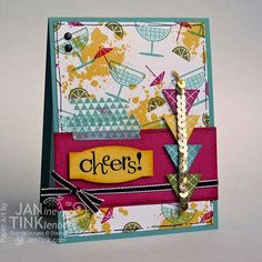 Cheers Urban Chic Birthday Greeting Card with by JanTink on Etsy, $5.95