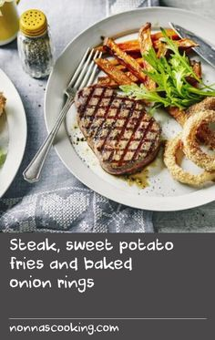 Steak, sweet potato fries and baked onion rings |      Sometimes only a steak will do, but they tend to be very fatty. Using lean fillet steak helps keep the calories down and serving it with baked onion rings, salad and sweet potato fries mean you're still getting a good amount of vegetables.Each serving provides 527 kcal, 38g protein, 50g carbohydrate (of which 12.5g sugars), 17.5g fat (of which 5.4g saturates), 8g fibre and 0.6g salt.
