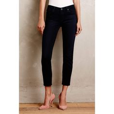 AG Stevie Ankle Jeans ($168) ❤ liked on Polyvore featuring jeans, dark wave, ankle jeans, skinny leg jeans, lined jeans, short jeans and super skinny ankle jeans