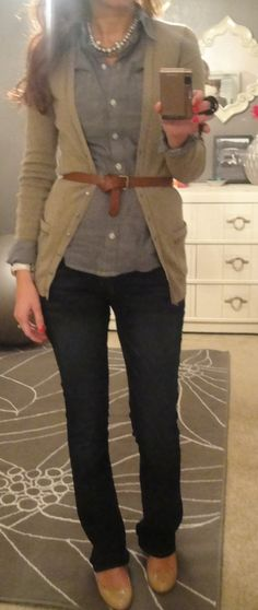 fall:  gray chambray oxford, tan cardi, belt, necklace, dark denim, nude pumps