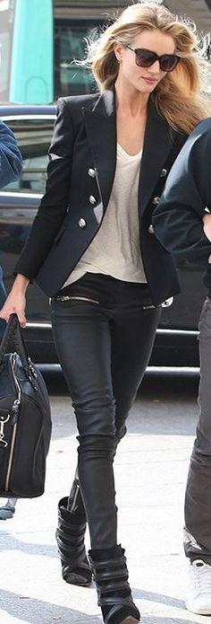 Rosie Huntington-Whiteley- black blazer, white tshirt, leather leggings, black wedge sneakers