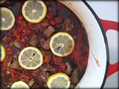 beef stew with green olive pesto