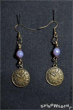 clock earrings  steampunk bronze czech beads pendant by SpinnWeben, €11.00