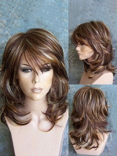 Buy Medium Side Bang Highlighted Layered Slightly Curled Synthetic Wig, sale end… - Frisuren Hairstyles With Bangs, Braided Hairstyles, Cool Hairstyles, Hairstyles For Medium Length Hair With Layers, Medium Hair Styles For Women With Layers, Medium Layered Hairstyles, Layered Hair With Bangs, Drawing Hairstyles, Hairstyles Videos