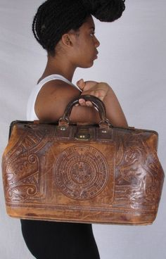 30s Vintage Mexican Tooled Leather Huge Tan by stellahsgroove