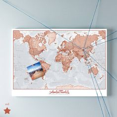 Our Personalised World is Art Map with pinboard finish makes the perfect gift for the travel enthusiast.Colour options: Personalised Map of the World is available in six different colours to fit most décor (please choose your selection in the drop down menu). Size option: A0, A1 OR A2 Pins: Box of 100 white pins (Optional) Tags: 10 white tags (Optional) You can find a framed version in the other products on our storefront, please see seller's complete range.Stylish personalised map de...
