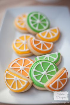 Cute citrus cookies at a Rainbow Party! See more party ideas at CatchMyParty.com! #partyideas #rainbow