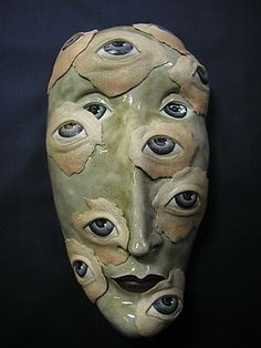 Ceramic Mask  When All Eyes Are Upon You by Peggy Bjerkan at maskwoman.com
