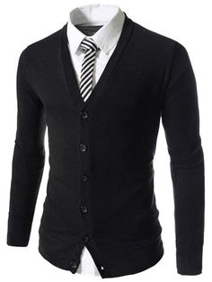 Single Breasted Solid Color V-Neck Long Sleeve Slimming Modish Polyester Cardigan For Men