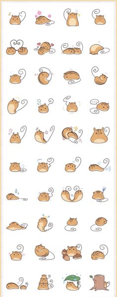 Be still my heart - adore the many poses, simple form for these illustrations… Kawaii Doodles, Cute Doodles, Kawaii Art, Kawaii Drawings, Cute Drawings, Animal Drawings, Drawing Animals, Kawaii Stickers, Cute Stickers