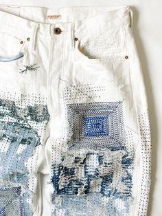 Japanese Embroidery Sashiko Inspiration for mending an Sashiko Embroidery, Japanese Embroidery, Art Textile, Textile Design, Shibori, Textiles, Boro Stitching, Shorts Jeans, Embellished Jeans