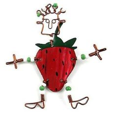This handmade novelty dancing girl pin features a playful strawberry design made from recycled tin can and copper wire, accented with colorful Maasai beads. Pin is approximately 3 inches tall.Meet the Artisans Creative Alternat. Christmas Gifts For Her, Girls Earrings, Girl Dancing, Gifts For Wedding Party, Red Apple, Gifts For Wife, Personalized Jewelry, Fair Trade, Handcrafted Jewelry