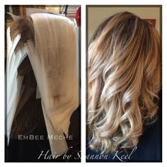 Using a new product called EmBee Meche. Great for doing any of the balayage ombré looks on hair