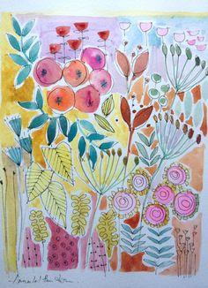 Original Water Colour Painting 'Autumn Floral' Signed Annabel Burton
