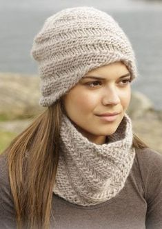 """Knitted DROPS hat and neck warmer with spiral pattern in """"Eskimo"""". Design bonnet Whirlwind Cowl pattern by DROPS design Drops Design, Loom Knitting, Free Knitting, Knitting Patterns For Scarves, Free Knitted Hat Patterns, Crochet Patterns, Stitch Patterns, Knit Crochet, Crochet Hats"""