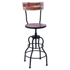 Featuring a tiered metal base with a weathered wood seat and back, this adjustable bar chair offers rustic-chic style for your decor.      ...