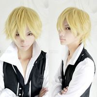 8.19$ 30 cm Harajuku Cosplay Wig Anime Short Straight High Quality Synthetic Hair Party Blonde Wig Peruca For Japanese Anime Perruque