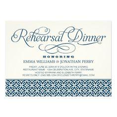 Wedding Rehearsal Dinner Invitations | Chic Script