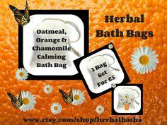 Bath and Beauty, 3 Herbal Bath Bags, Oatmeal, Orange & Chamomile Calming Bath Bag, Bath Set, Home Spa, Relaxation, Herbal Gift Set by HerbalBaths on Etsy