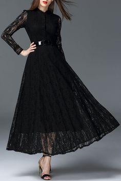 Oserjep Black Hollow Out Maxi Lace Dress | Maxi Dresses at DEZZAL