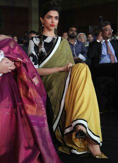 Deepika Padukone in a designer saree at the 'NDTV Indian of the Year Awards'. Read more http://fashionpro.me/12-times-deepika-padukone-nailed-saree