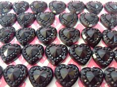 50x 10mm Black Heart Cabochons Resin Sparkly